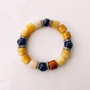 Yellow Purple & Cream Beaded Bracelet